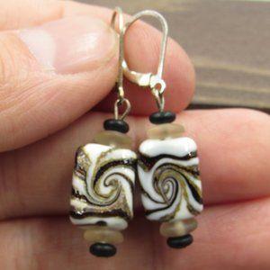 Sterling Silver Odd Swirling Glass Dangle Earrings